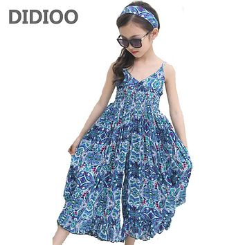 Summer Dresses For Girls Cotton Children Clothing Print Floral Beach Girl Dress Fashion Bohemian Kids Girls Dresses Baby Clothes