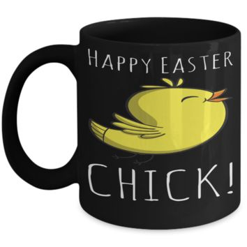 Chicken Easter Mug Easter Lunch Mug Inspiration Mug Black Coffee Cup 2017 2018 Gifts For Him Her Family Grandparent Grandma Granddad Wive Husband Couples Fun Coffee Cups Funny Holiday Sayings Mugs Happy Easter Chick