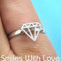 Adjustable Diamond Cut Out Ring in Silver | smileswithlove - Jewelry on ArtFire