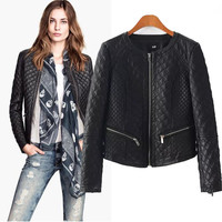 Plaid Faux Leather Long Sleeve Zip Jacket