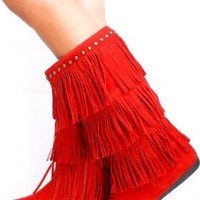 Women's Faux Suede Moccasin Fringe Mid Calf Studded Boots in Black, Red