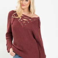 Lindsey Burgundy Lace Up Sweater