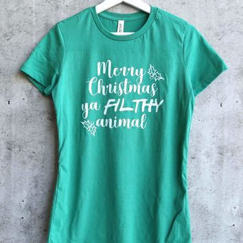 21e67291f distracted - Merry Christmas ya FILTHY animal women's fitted gra