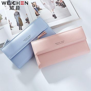 Free shipping 2017 new fashion women wallets brand long wallet Korea style PU leather solid color high quality change purse