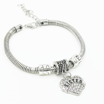 Crystal Rhinestone Heart Sister Charm Bangle Women Jewelry Gifts BU