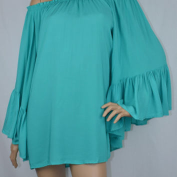 Elan Off Shoulder Bell Ruffle Sleeve Tunic Top-Jade