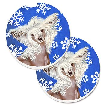 Chinese Crested Winter Snowflakes Holiday Set of 2 Cup Holder Car Coasters LH9302CARC