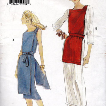 Vogue Sewing Pattern 9986 Dress Tabard Tapered Skirt Apron Sleeveless Dress Belted Waist Jerkin Size Large Bust 36 38