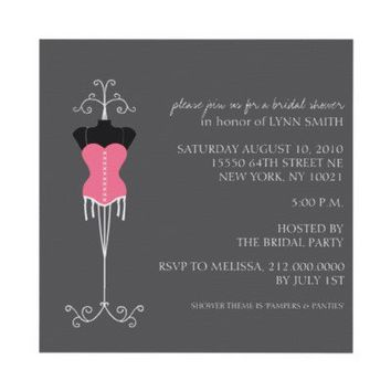 Lingerie Bridal Shower Invitations from Zazzle.com