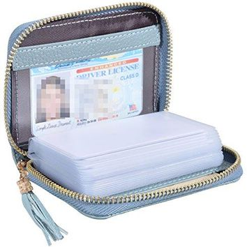 Easyoulife Womens RFID Blocking Leather Credit Card Holder Wallet 20 Card Slots
