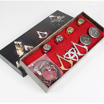 Animation Assassins Creed Necklace Brooch Rings Set Game Cosplay assassin accessories Boxed Gift for Collections figures TOYS