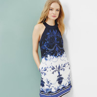 Persian Blue halter neck tunic - Dark Blue | Dresses | Ted Baker