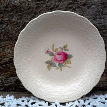 "Vintage Spode's ""Billingsley Rose"" Butter Pat, Spode Jewel Copeland Spode, Serving, Red/Pink Transferware, Butter Dish, English Transferware"