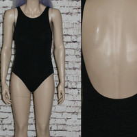 90s One Piece Swimsuit Black Crinkle Fabric XS S Swim Suit Hipster Grunge Pastel Goth Gothic Bathing Suit 80s