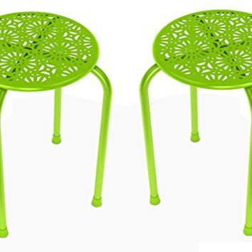 dar Living Daisy Metal Stool, Lime Green (2-Pack)