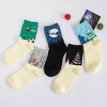 New Arrival Christmas Festival Gift Women Cute Elk&Snowman Patterned Socks Funny Cute Cotton Women Ankle Christmas Sock Cool Sox