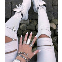 Fashion Pants For Winter With Zipper