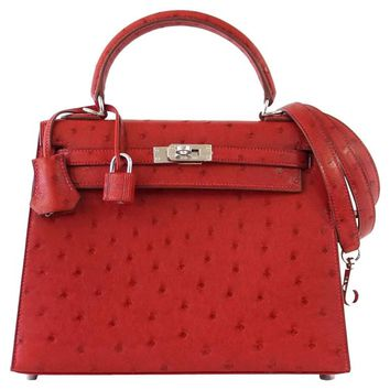 Hermes Kelly Sellier 25 Bag Ostrich Rare Rouge Vif Pink Topstitch Palladium
