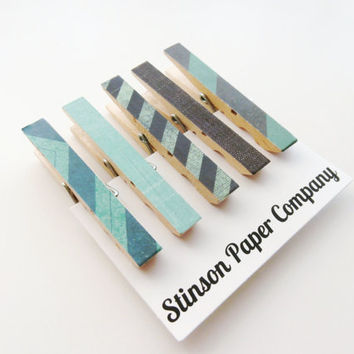 Clothespin Magnets, Kitchen Clips, Dorm Magnets, Neodymium Magnets, Decoupaged Magnets, Magnet Clips, Blue Magnets, Coworker Gift