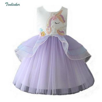 Cool Girls Princess Unicorn Party Costumes For Kids Flower Ball Gown Tutu Tulle Dress Cosplay Unicornio Costume Vestido 2-10Y 2018AT_93_12