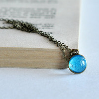 Tiny Glass Blue Turquoise Pendant, Shiny Glitter Glass Dome Resin Necklace