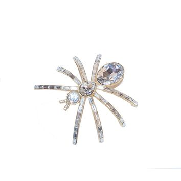 Vintage 1980s Rhinestone Spider Shoulder Brooch