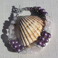 "Gemstone Crystal Bracelet, Rose Quartz Heart & Purple Shell Pearl  ""Belle Amour"""