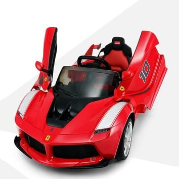 Ferrari Four-Wheel Electric Vehicle with Remote Control Kids Rechargeable Baby Car Kids Toy Car with Open Door