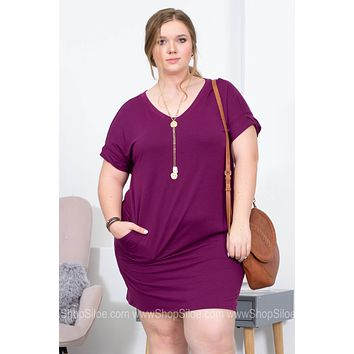 V-Neck Cuffed Sleeves Solid Dress | Purple | Plus