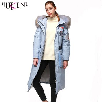 HIJKLNL Woman Winter Coat With White Duck Down 2017 Thick Hood Raccoon Fur Collar Long Down Jacket Embroidery Parka Mujer QN540