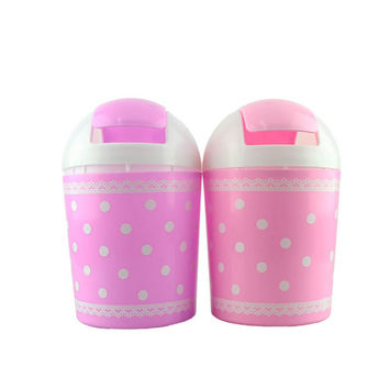 New Polka Dot Desktop Storage Barrels Creative Mini Trash Can wit table organizing small rubbish bin drop shipping