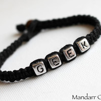 CLEARANCE SALE - Black Geek Bracelet, Nerdy Jewelry, Gift for Her, Macrame Hemp Jewelry, Eco Friendly Accessory