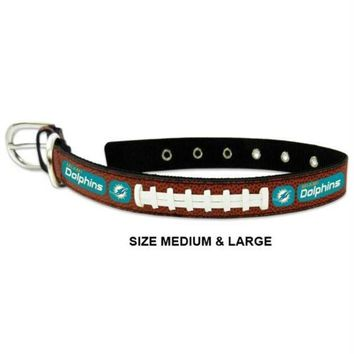 DCCKT9W Miami Dolphins Classic Leather Football Collar