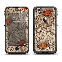 The Tan & Orange Tipped Flowers Pattern Apple iPhone 6 LifeProof Fre Case Skin Set