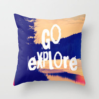 Go Explore Throw Pillow by Rachel Burbee