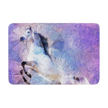 "Ancello ""Abstract Horse"" Purple Blue Memory Foam Bath Mat"