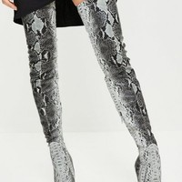 Missguided - Peace + Love Snake Print Thigh High Boots