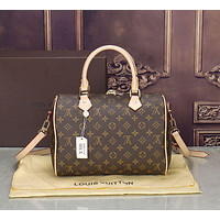 LV Tide brand checkerboard old flower female models wild fashion portable pillow bag coffee print