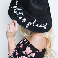No Photos Please Beach Hat - Black