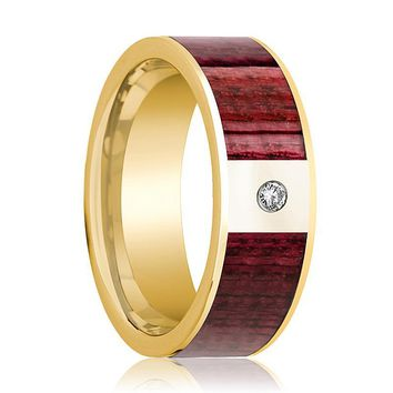 Mens Wedding Band Polished 14k Yellow Gold Men's Wedding Ring with Purpleheart Wood Inlay  & Diamond - 8mm