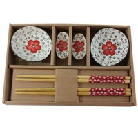 Asian Chopsticks, Holder, and Bowls Dining Set, Red