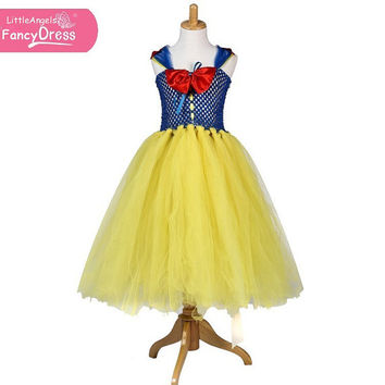 Disney Princess Snow White Yellow Blue Handmade Tutu Dress - Great Fancy Dress Costume for Girls - Age 3-9 years