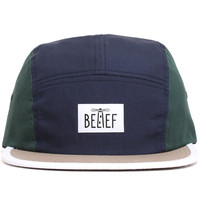 Lighthouse 5-Panel Hat Navy / Hunter Green / Tan