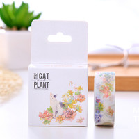 JB308 1.5CM Blooming Colorful Flowers Cat Washi Tape Adhesive Tape DIY Scrapbooking Sticker Label Masking Tape