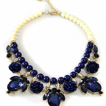 Blue Beaded Link Faceted Stone And Floral Drop Choker Necklace