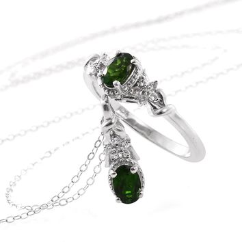 Russian Chrome Diopside Matching Necklace and Ring