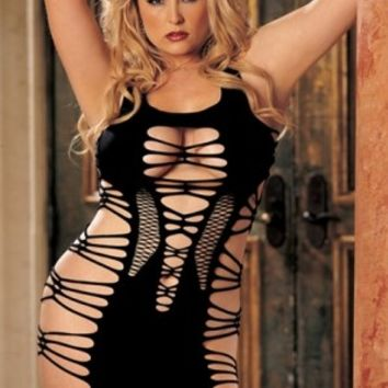 Plus Size Lingerie | Plus Size Strappy Stretch Knit Chemise | Hips & Curves
