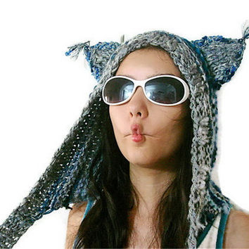 Hand Knitted wolf ears hat,kiss teen cat hood, lynx head, brute beanie