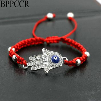 BPPCCR Silver Color Fatima Hamsa Hand Braided Bracelet Thin Red Rope Thread String Zircon Lucky Chakra Palm Bracelets Pulsears