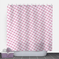 Pink Gingham Shower Curtain - Pattern White Pink Gingham - 71x74 - PVC liner optional - Made to Order
